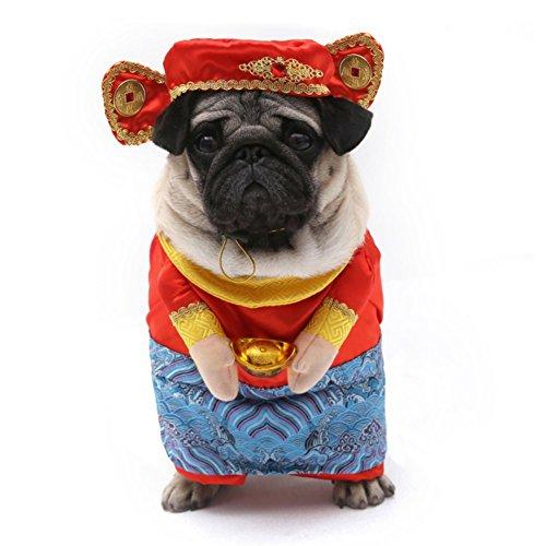 Kostüm New Chinese Dog Year - PanDaDa Pet Suit Gott des Reichtums Cosplay Kleidung Haustier Hund Katze New Year Coat Dog Chinese Kostüm Winter Kleidung Set