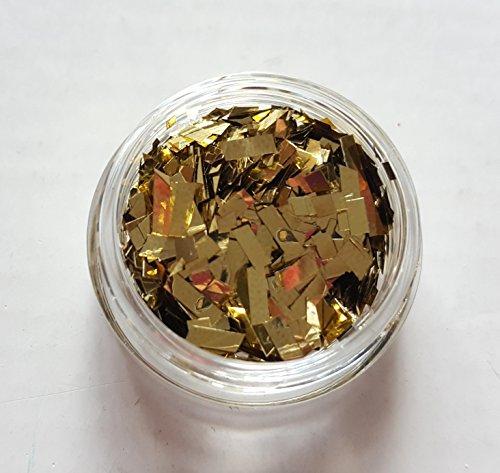New Nail Art Döschen Flakes in Gold, Glitzer Glitter Folie Flitter Nageldesign Nagelkunst Maniküre Pediküre Einleger Zubehör