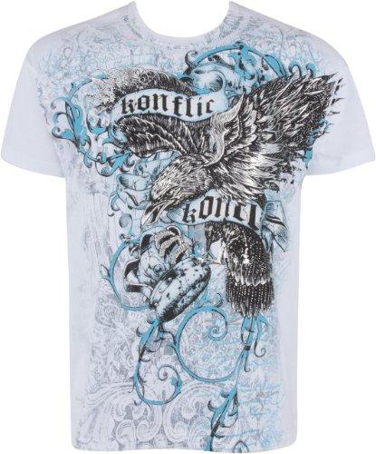 Sakkas Eagle Clutching Crown T-Shirt aus Baumwolle für Männer Grau Weiß
