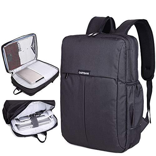 Garybank Notebook Laptop Rucksack 15 Zoll 15,6 Zoll Computer Rucksack Gepolstert Wasserdichter Business Schule Rucksack Damen Männer Schwarz