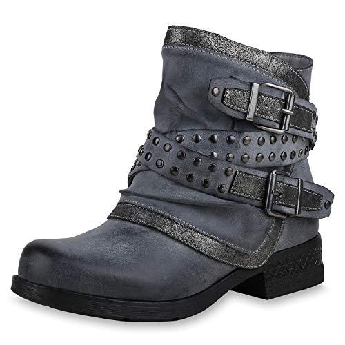 SCARPE VITA Damen Stiefeletten Biker Boots Leicht Gefütterte Schuhe Metallic 169171 Grau 39