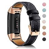 Mornex Cinturino Compatible Fitbit Charge 3 Cinturini Pelle e Compatible Fitbit Charge 3 Edizione Speciale, Elegante Braccialetto Orologio, Donna e Uomo, Small e Large
