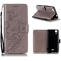 KATUMO Etui Compatible avec Wiko Rainbow Lite 4G Flip Case Cover Coque de Wiko Rainbow Lite 4G Housse Telephone Etui Protection PU Cuir Portefeuille-Gris