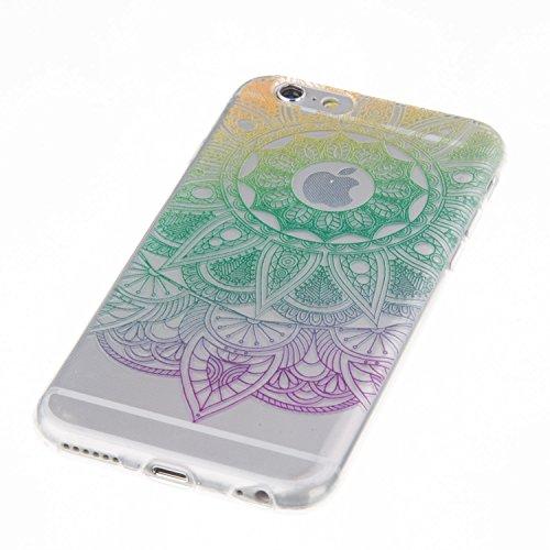 Coque iPhone 6 Plus, Étui iPhone 6S Plus, iPhone 6 Plus/iPhone 6S Plus Case, ikasus® Coque iPhone 6 Plus/iPhone 6S Plus Housse TPU Tournesol à gradient de couleur Silicone Étui Housse Téléphone Couver Tournesol à gradient violet vert