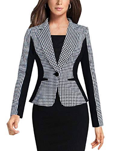 Lrud Frauen Patchwork Hahnentritt Blazer Plaid Jacke Arbeit Büro Mantel Langarm Schlank Revers Outwear Anzüge XL