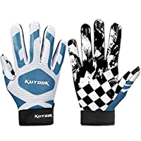 ‏‪Kutook Football Gloves Pro Sticky Receiver Gloves Padded Breathable for Adult and Youth Medium blue‬‏