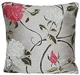 DESIGNERS GUILD Pink Roses Kissenbezug Stoff grau Seide Accent Kissen Schutzhülle Arabella Floral Print