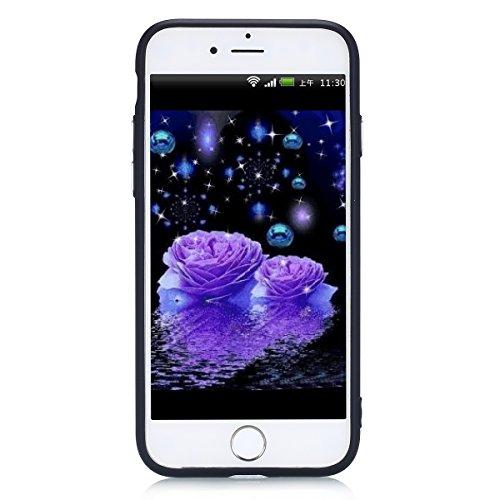 Cover iPhone 7, Custodia iPhone 7 Blu, Case in Silicone Morbido TPU, Surakey Back Cover Gel Gomma Sottile e Flessibile Custodia Tinta Unita Semplice Protettiva Bumper Antigraffio Antiurto Protezione P Nero