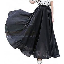 Afibi Mujeres Gasa Retro Largo Maxi Falda Vendimia Vestir (Medium, Negro)