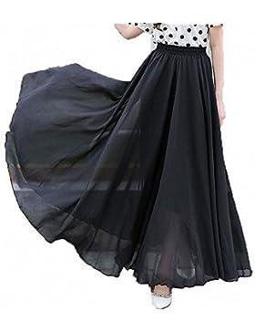 Afibi Mujeres Gasa Retro Largo Maxi Falda Vendimia Vestir