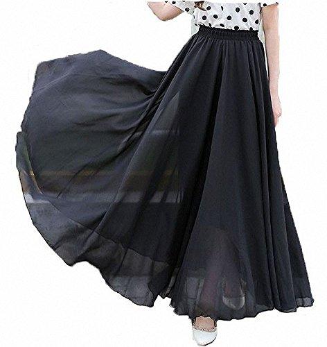 Afibi Damen Chiffon Retro Langer Maxi-Rock Weinlese-Kleid (S, Schwarz)