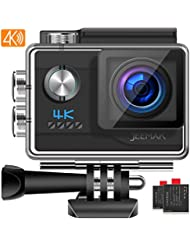 JEEMAK Action Cam 4K UHD 20MP Sports Camera WiFi 170° Waterproof Action Camera 40 m Underwater Camera with 2 Rechargeable Batteries and Many Accessories Compatible with GoPro