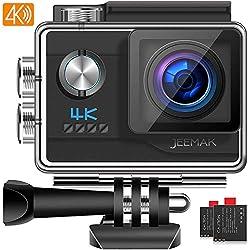 JEEMAK Caméra Sport 4K Ultra HD 20MP WiFi Caméra d'action Étanche 40M 170 °Grand-Angle Caméscope avec 2 Batteries et Kits d'Accessoires Compatible avec gopro