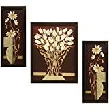 Indianara Flower Rectangular Synthetic Wood Art Painting (35 cm x 28 cm x 3 cm, Set of 3)