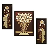 #8: Indianara 3 Pc Set Of Flower (995) Paintings Without Glass 5.2 X 12.5, 9.5 X 12.5, 5.2 X 12.5 Inch