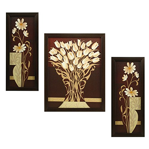 Indianara 3 Pc Set Of Flower (995) Paintings Without Glass 5.2 X...