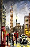 London Notebook: London Souvenir Medium Note Pad with Big Ben, London Black Taxi & Red Phone Box, 100 Lined Pages