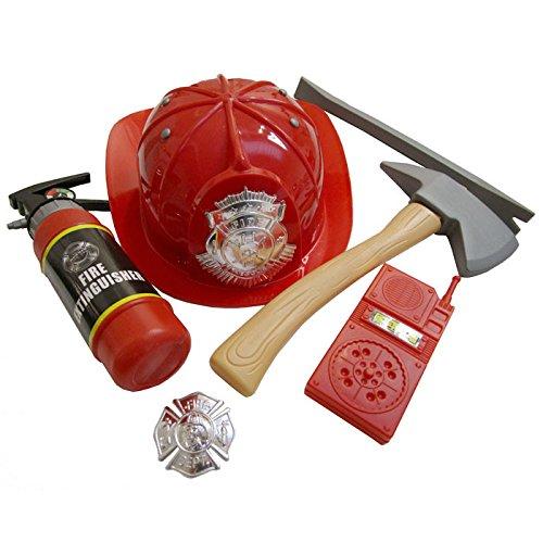 Feuerwehrmann Zubehör Kostüm - PARTY DISCOUNT NEU Feuerwehr-Set für Kinder, 6-teilig