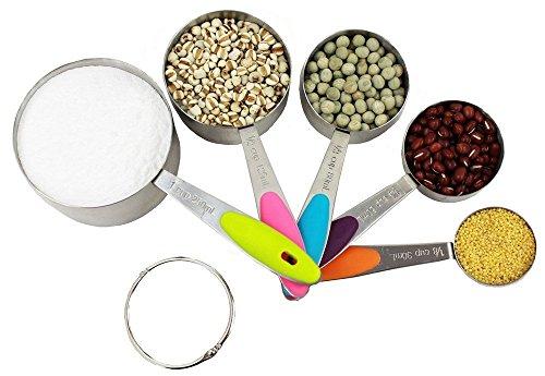 Reinigung Von Edelstahl Rostfrei Kochen Roste (Messlöffel,5er Set Edelstahl Messbecher Cup für Küche backen Kochen mit Silikongriffen und Gravur)