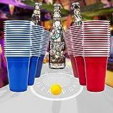 100x Beer Pong Becher Partybecher Set Plastikbecher Rot und Blau 473ml Bier Pong Cups mit Bällen, 16oZ für Getränke Party Camping Cocktail Bier Neues Jahr Weihnachten Geburtstag Festivals Hochzeit - 6