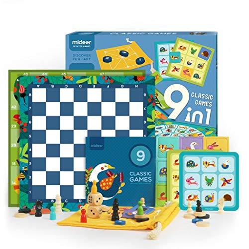 QHWJ Lernspielzeug für Kinder, 9-in-1-Multi-Funktions-Intelligenz-Brettspiel Brettspiel 3 Jahre alte Kinder Eltern-Kind-interaktives Spiel
