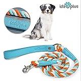 Ida Plus – Hunde-Leine und gedrehter Kordel aus Leder mit silbernem Haken für große und Kleine Hunde