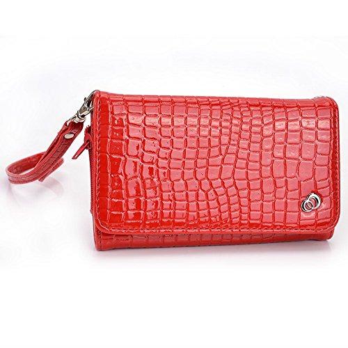 Kroo Étui portefeuille universel pour smartphone avec bracelet croco pour Alcatel POP D3/OT-992D/One Touch M Pop 5020D Noir Mobile rouge rouge