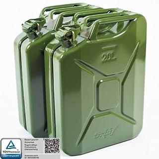 2x Oxid7® Benzinkanister Kraftstoffkanister Metall 20 Liter Olivgrün mit UN-Zulassung - TÜV Rheinland Zertifiziert - Bauart geprüft