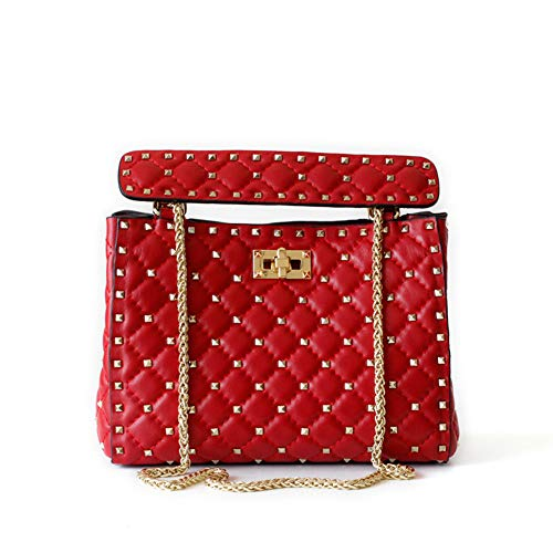 Kommschonff Leder Gesteppte Designer Inspirierte Handtasche Damen Crossbody Taschen Leder Kupplung Umhängetasche Satchel Handtasche,Red -