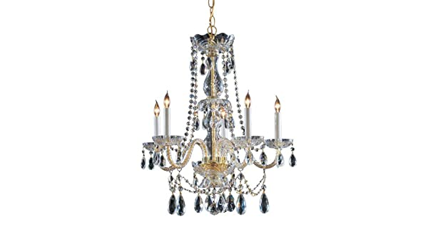 Crystorama 1125-PB-CL-MWP Crystal Five Light Chandelier from Traditional Crystal collection in Brass-Polished//Castfinish,