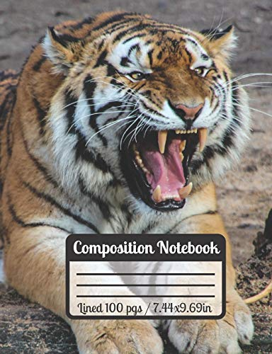 Composition Notebook: Tiger Roar School Notebook, Wide Ruled Paper With 100 Pages