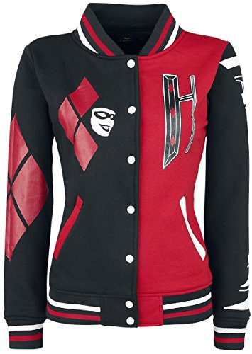Harley Quinn Harley Giacca college donna nero/rosso, Nero-rosso, XX-Large