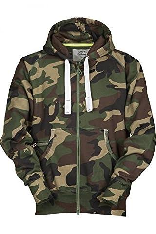 Herren Sweatjacke Zip Hoodie Kapuzenjacke Militär Tarnmuster Camouflage, Größe:S, Farbe:Grün