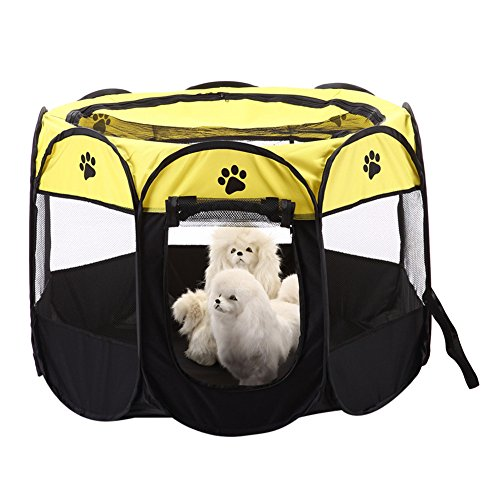 Zaote Portable Pet Dog Cat Playpen Foldable 8-side Puppy Kitten Rabbit Guinea Pig Play Pen Yellow