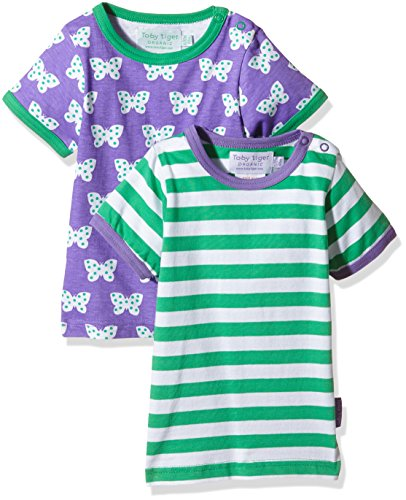 Butterfly Bio-kinder-t-shirt (Toby Tiger Mädchen Butterfly Tshirt Pack T-Shirt, Violett (Purple/Green/White), 4-5 Jahre (Herstellergröße: 110 cm) (erPack 2))