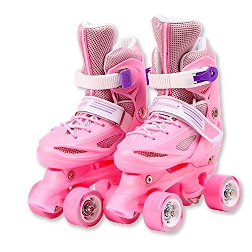 MISS LIChildren Der Einzigen Inline-Doppelrad Vier Rollschuhe Für Männer Und Frauen 3-10 Jahre Alt,Pink-S