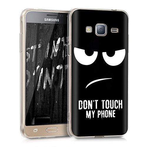 kwmobile Samsung Galaxy J3 (2016) DUOS Hülle - Handyhülle für Samsung Galaxy J3 (2016) DUOS - Handy Case in Weiß Schwarz
