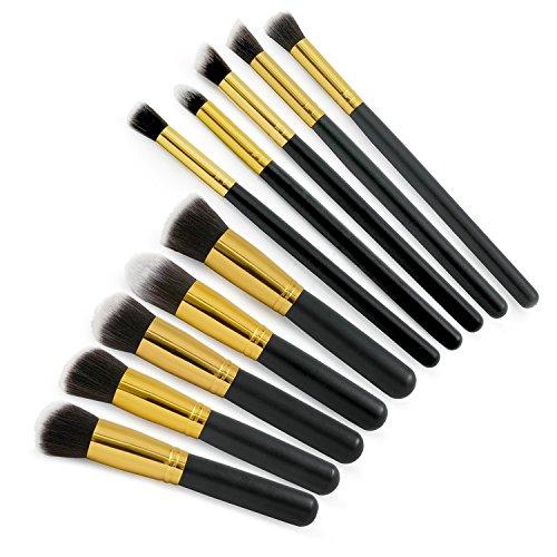 Grenhaven set de 10 pinceaux maquillage professionnels brosses maquillage avec fibres de haute qualité