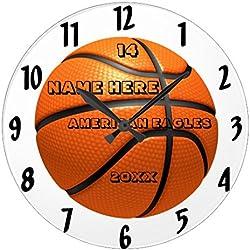 Monsety Reloj redondo de madera para dormitorio, baloncesto, blanco y negro, con nombre de jugador, reloj de pared, decoración para habitación de los niños, 30 cm, reloj de regalo