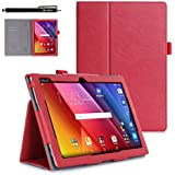 Casefashion® PU Leather Flip Folio Case Cover Skin Card Slots Protector with Stand Function for ASUS ZenPad 10 inch Z300C - Red