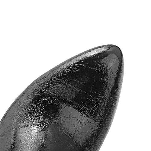 VogueZone009 Damen Spitz Zehe Niedrig-Spitze Hoher Absatz Eingelegt Mikrofaser Stiefel Schwarz