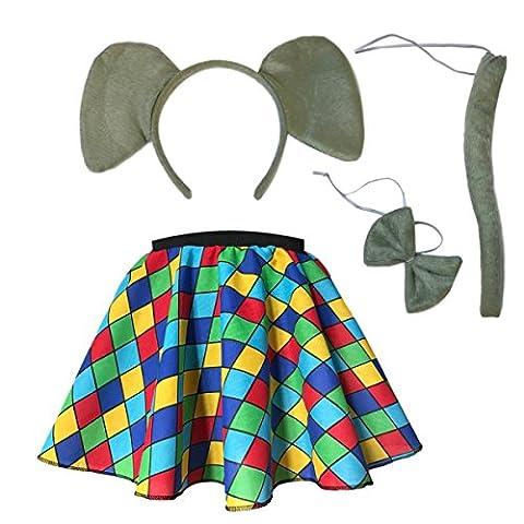 Girls, child Elmer The Elephant Skirt Costume Accessories Fancy Dress Costume Animal Kit (4-5yrs - 20