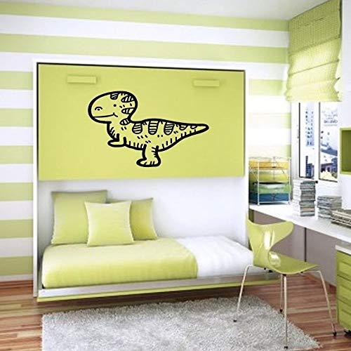 Geiqianjiumai Vinyl Aufkleber Tyrannosaurus Dinosaur Tyrannosaurus Niedlichen Cartoon Mädchen Jungen Kinderzimmer Kinderzimmer Dekoration Schwarz 42X27 cm