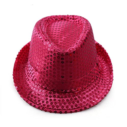 Kostüm Le Hot Jazz Dance - ECYC Kind Glitter Pailletten Fedora Hut, Jazz Dance Bühnenshow Performances Kostüm Pailletten Fedora Hut (Pink)