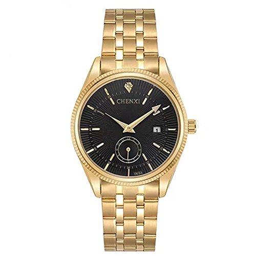 CHENXI Analog Quarzuhr - Herrenmode Luxus Gold Edelstahl Armbanduhr, Kalender Datum Display (Schwarz)