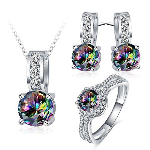 Set di gioielli scatola regalo orecchini collana con pendente ciondolo in cristallo zircone colorato per gioielli da donna argento dimensioni 17