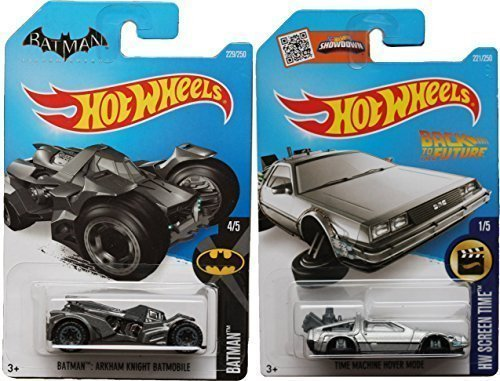 Back to the Future Batman 2016 Car Set Time Machine Hot Wheels Mainline Series Hover Mode Delorean Screen Time Batman by Hot Wheels