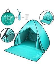 Tienda de campaña de playa, Pop-up automático portátil Aire libre rápido Cabana familia anti UV abrigo sol (2–3personas), azul