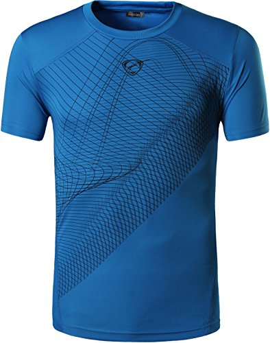 jeansian Herren Sportswear Quick Dry Short Sleeve Men's Tee T-Shirt Tops Tshirt LSL069_Blue_XL