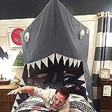 Tenda per bambini, culla, baldacchino, angolo per lettura, grande squalo, in cotone, tenda, tenda da gioco, zanzariera, per interni, per maschi e femmine